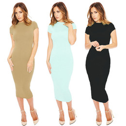 Wholesale Hot Club Clothes For Women - 2016 Trendy Fashion Sheath Dresses For Women O-Neck Short Sleeve Mid-Calf Long Sexy Dresses Solid Summer Party Clothing New Hot Sales