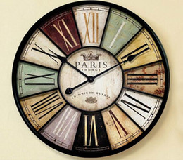Wholesale Wall Craft Clocks - Home decor Large wall clock 60cm antique style mute iron crafts vintage old wall watch with roman number