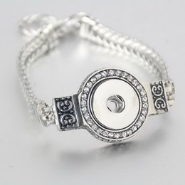 Wholesale Crystal Jewelry Setting Diy - Vintage silver metal Rehinstone snap bracelets and bangles fit for 18-20mm snap button for woman and man diy jewelry nb018