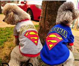Wholesale Raincoat For Puppies - Free Shipping Pet Puppy Clothes Apparel Superman Set Warm Dog Costumes Outfit T Shirt Coat For Dogs Fashion AA