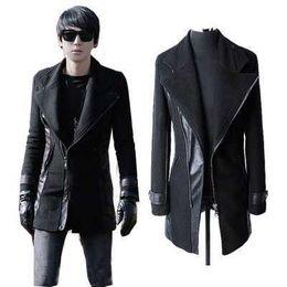 Wholesale Mens Wool Coat Xxl - Fall-2016 New Mens Punk Pu Leather Sleeves Wool Jacket Coat Trench Parka Padded Black Plus Size M L XL XXL XXXL H6972
