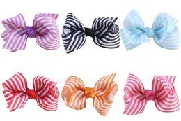 Wholesale Stripe Hair Bow - 20pcs Boutique 10colors 3 inch grosgrain stripe ribbon bow hair accessories bowknot with alligator clip hair bobbles ties HC032