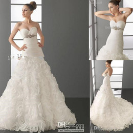 Wholesale Dres Beads Sequins - 2016 BEAUTIFUL FASHION Organza Rose Mermaid Sweetheart neckline WEDDING DRESSES Ball Gown Dres New Bride Gowns Beaded Belt Lace-up