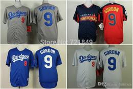Wholesale Mens Shirts China - 2015 New Discount Mens LA Los Angeles Dodgers shirts #9 Dee Gordon white blue all-star grey baseball jerseys wholesaler in china