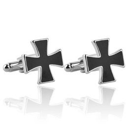 Wholesale Black Cuff Links - Assassins Creed Knights Templar Cufflinks Black enamel Christian Cross French Shirt Cuff link Accessories For Men Wedding Business Gift