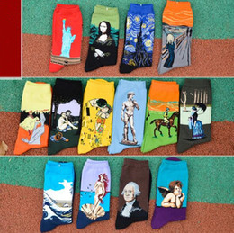 Wholesale Women Statue - Art Style Sock Women Vintage Statue of Liberty Mona Lisa Starry Sky Kiss Socking Lovers Middle Tube Socks 2pcs pair CCA7703 500pair