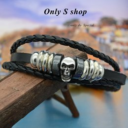 Wholesale Dropshipping Bracelet - Dropshipping punk jewelry skull leather bracelet for man women lover gift wholesale price OSL011