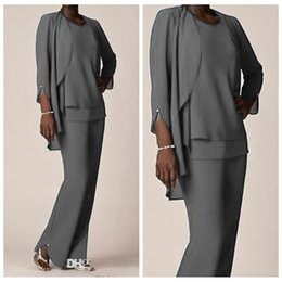 Wholesale Light Silver Grey Suits For Grooms - Custom Made Plus Size Grey Chiffon Formal Pant Suits For Mother Groom Dresses Evening Wear Long Mother of the Bride Dresses With Jackets