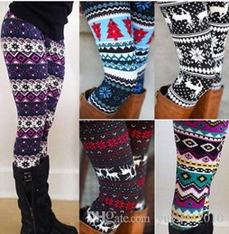 Wholesale Wholesale Women S Jerseys - 2017 High Quality Comfortable Women girl casual Winter Christmas Snowflake Knitted Elastic printed Leggings Fitness Cotton Pants 20170925