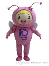 Wholesale Make Bee Costume - SX0723 With one mini fan inside the head a pink bee mascot cosutme for adult to wear