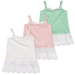 Wholesale Lace Undershirts Girls - Newly Girls Lace Tank Top 3Colors Baby Girls Summer Tops Cute Lace Underwear Baby Kids Super Soft Undershirts Kids Clothes