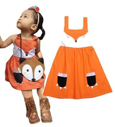 Wholesale Cute Baby Girl Chinese - Girls Fox TUTU Dress baby sleeveless Orange one Piece Lace dresses 2016 New Cute girls fox tutu dresses for toddlers animal dress