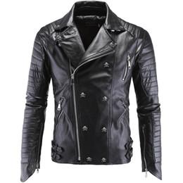 Wholesale Men S Real Leather Jacket - Fall-Mens Skull Motorcycle 5XL Real Leather Jackets Vintage Retro DK Punk Style Dsl Male Winter Faux Fur Coats Biker Suede Jacket Men