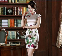 Wholesale oriental chinese dress - 2017 Hot Chinese oriental dress ice silk sexy Cheongsam High Collar Short Sleeves China Qipao Lady party Prom evening Dress