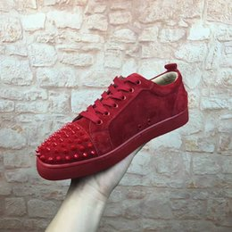 Wholesale Mens Comfort Boots - 2017Free Shipping New Mens Womens louboutin Red Suede with spikes Low Top EU Bottom Sneakers,Brand Flat Boots Casual Shoes Size 36-46