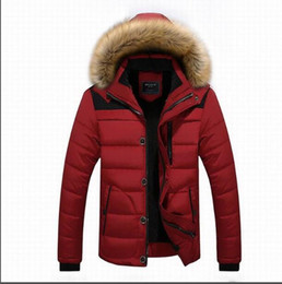 Wholesale Cashmere Hooded Hat - The winter men's cotton coat raccoon fur collar hooded casual coat size male cashmere plus thick jacket factory outlets