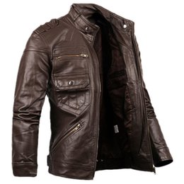 Wholesale Avirex Leather Jackets - Wholesale- 2016 Russian Style Fashion Mens Zipper Leather Jacket For Men New Slim Fit Motorcycle Avirex Leather Jackets Male Designer S2156