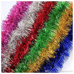 Wholesale tinsel wholesale - 2016 2M*7cm Christmas Color Bar Colorful Ribbon tinsel Stage Decoration Ribbon Wedding Decoration Party Decorations