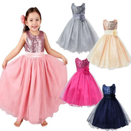Wholesale Yellow Princess Dress Costume - Baby Flower Girls' Dresses 2017 Party Sequins Dress Wedding Bridesmaid Dresses girls costumes Bridesmaid Wedding Flower Girl Party