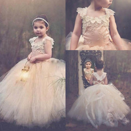 Wholesale Tulle Fluffy Flower Girl Dresses - Cute Fluffy Ball Gown Flower Girls Dresses 2016 Criss Cross Back Girls Wedding Party Dress Pearls Lace Appliques Pageant Gowns
