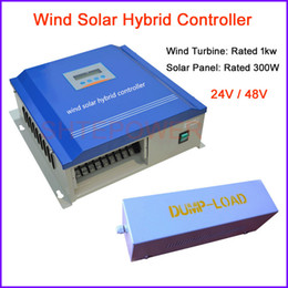 Wholesale Battery Solar 48v - 1000W Max wind solar hybrid charge controller for 1000w windmill and 300W solar panel, 24v 48v battery charge controller