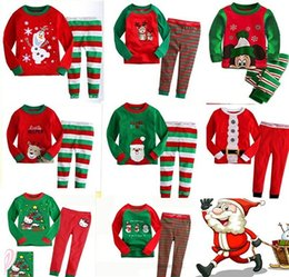 Wholesale Organic Childrens Clothing Wholesale - Baby Sleepwear Autumn Outfit Child Leisurewear Suit Cotton Baby Pajamas Christmas Children Long Sleeve Childrens Clothes Nightwear