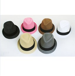 Wholesale Women Straw Fedora Hats - Panama Straw Hats Fedora Soft Vogue Men Women Stingy Brim Caps 6 Colors Choose 10pcs lot F542