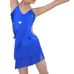 Wholesale Latin Dresses For Girls - Dance Dress For Girls 2016 Popular Sequin Tassel Latin Competition Skirts Children Student Dance Wear Woman Latin Dance Costume