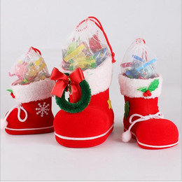Wholesale Gift Boxes For Shoes - Santa Claus Boot Shoes StockingChristmas Tree Decoration Christmas Boots Candy Boxes for Kids Party Bags Boys Girls