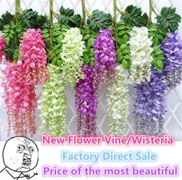Wholesale Pink Flower Wall - New Flower Vine Wisteria Wedding Decor 110cm 75cm 6 colors Artificial Decorative Flowers Garlands for Party Wedding Wreaths B0103