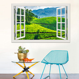 Wholesale Country Decor Wallpaper - 3d Window Decal Wall Sticker Green Tea Garden Beautiful Landscape Wallpapers PVC Vinyl Sticker Mural Art Home Decor
