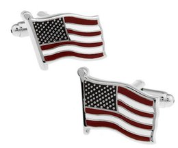 Wholesale Top Quality Cufflinks - Top Grade USA American Flag Cufflinks for men shirts high quality Cuff links Hot Selling free shipping