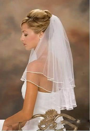Wholesale New Veils - 2016 Free Shipping New Arrival Elbow Length Wedding Ribbon Edge Short Two Layer Bridal Veil With Comb High Quality