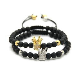 Wholesale Gold Plated Crown Charms - Wholesale 10pcs lot 6mm Matte Agate Stone Beads Gold and Platinum Crown Braided CZ beads Bracelet Party Gift