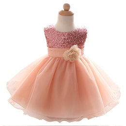Wholesale Dresses For Ceremonies - Wholesale- Newborn Baby Girl Dress For Girls Ceremonies Party Wear Flower Ribbon Bow Kids Dresses Sequined Formal Dress For Toddler 0-2Yrs