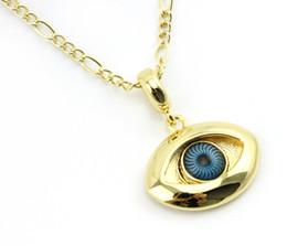 Wholesale Turkish Evil Eye Gold - Turkish Blue Evil Eye Pendant Necklace Rope Chain 18K Gold Plated Woman Man Kabbalah Greek Judaica