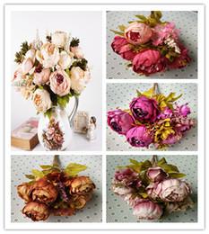 Wholesale Silk Flower Heads Inch - High quality 1 Bouquet 13 Heads Vintage Artificial Peony Silk Flower Wedding Home Decor 47cm 18.5 inch length
