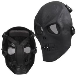 Wholesale Skull Mask Full - NHBR Airsoft Mask Skull Full Protective Mask Military - Black