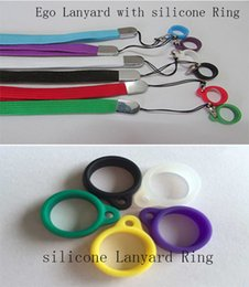 Wholesale Ce9 Ring - E-cigarette ego Lanyard Ring For CE4 CE8 CE9 T3S T4 EVOD MT3 GS H2 H5 Atomizer Silicone Necklace Ring Fit eGo-t eGo-c twist