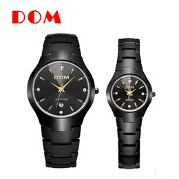 Wholesale Dom Tungsten - DOM Fashion new Couples lover's watches creative popular Tungsten steel Round personality popular Business leisure hot selling free shipping