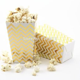 Wholesale Paper Popcorn Boxes - 36pcs Foil Gold Silver Paper Treat Popcorn Box for Home Theatre Movie Wedding Baby Shower Party Supply 160602#