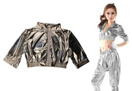 Wholesale Sequin Dance Tops Women - 2015 New Fashion Women Tops Clothing Jazz ds Ultra-short Silver Hip Hop Dance Performance Costume Dancer Coat Jacket