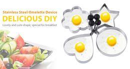 Wholesale Heart Shaped Omelette - 4pcs Stainless Steel Omelette Mold Device Eggs Ring Molds with Heart Flower Star Round Shape B