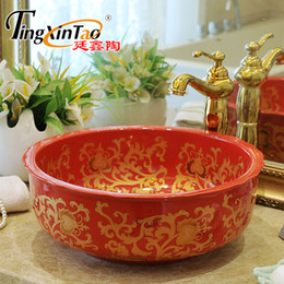 Wholesale Ceramic Art Basin - China Artistic Europe Style Counter Top porcelain wash basin bathroom sinks ceramic art painted ceramic bathroom red flower