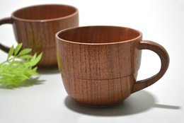 Wholesale Jujube Wholesale - Natural Jujube Bar Wooden Cups Mugs With Handgrip Coffee Tea Milk Travel Wine Beer Mugs For Home Bar LLFA