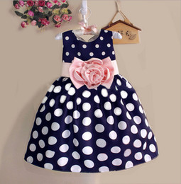 Wholesale Bow Dress For Kids - Free shipping 2016 fashion children girl clothes dress knee length summer bow flower dot dresses for kids retail white black 2 colors