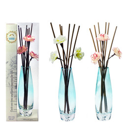 Wholesale Glass Aroma Diffuser Essential Oils - Oval Vase Reed Diffuser Natural Scents Essential Oils & Synergies Aroma Diffuser With Glass Vase For Fragrance Diffuser Code : 83-1046