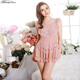 Wholesale Sexy Lingerie Apron Babydoll - Plus size lingerie Sexy Lace Babydoll Dress Erotic Underwear Apron Spandex soft Nightwear Sexy Costume Sexy Costumes Women A128