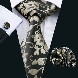Wholesale Gray Silk Suits For Men - Fashion Flower Printed Casual Brand Silk Ties For Men Suits Vintage Corbatas Suits Vestidos Necktie Party Ties N-1112
