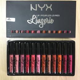 Wholesale Lipstick Nyx - Drop ship NYX 12pcs kit NYX LIP LINGERIE NYX lip lingerie liquid Matte lipstick Lip Cream Lipstick 12 colors Charming Long-lasting vs nubian